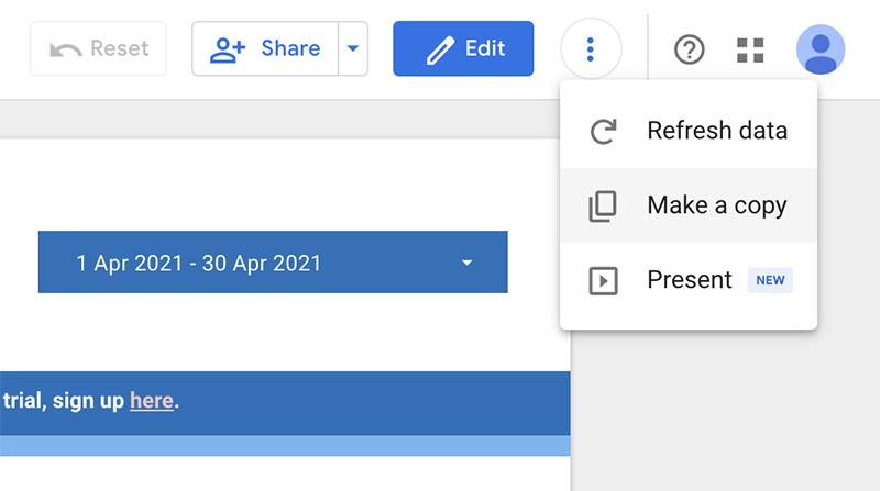 Copy a Google Data Studio dashboard