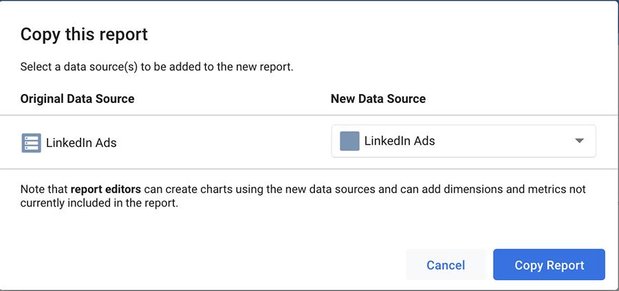 LinkedIn Ads copy Google Data Studio