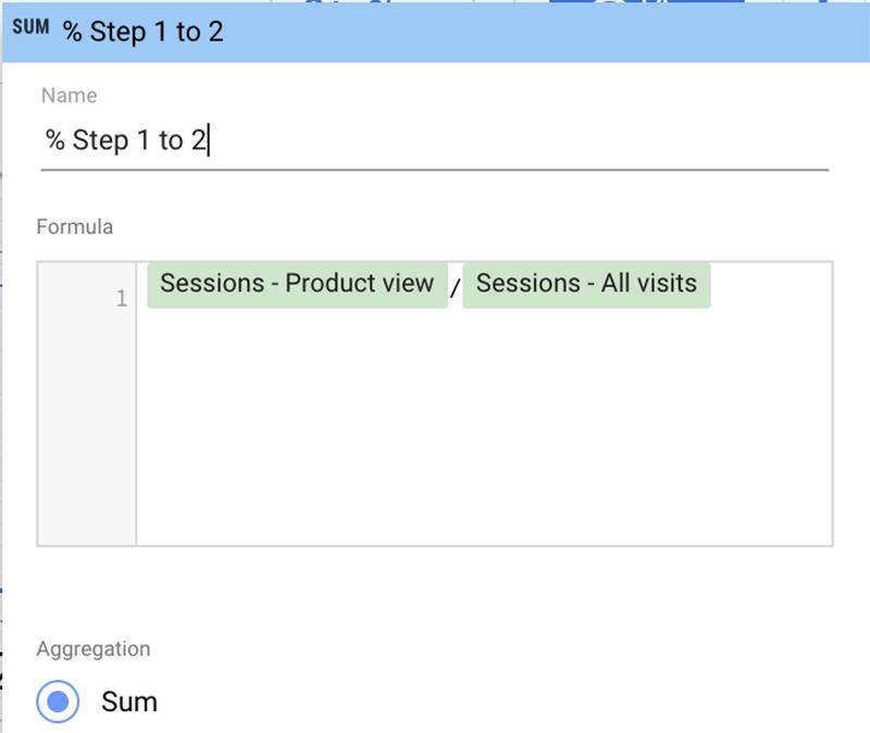 Creating steps funnel Google data studio