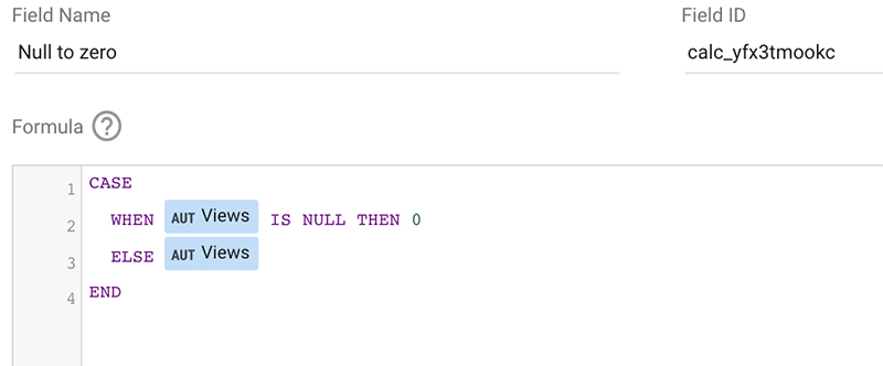 Null to zero in Google Data Studio