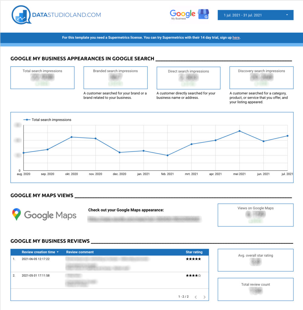 Google My Business Data Studio template